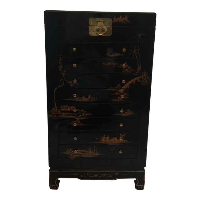 Asian Hand Painted Armoire - Image 1 of 6