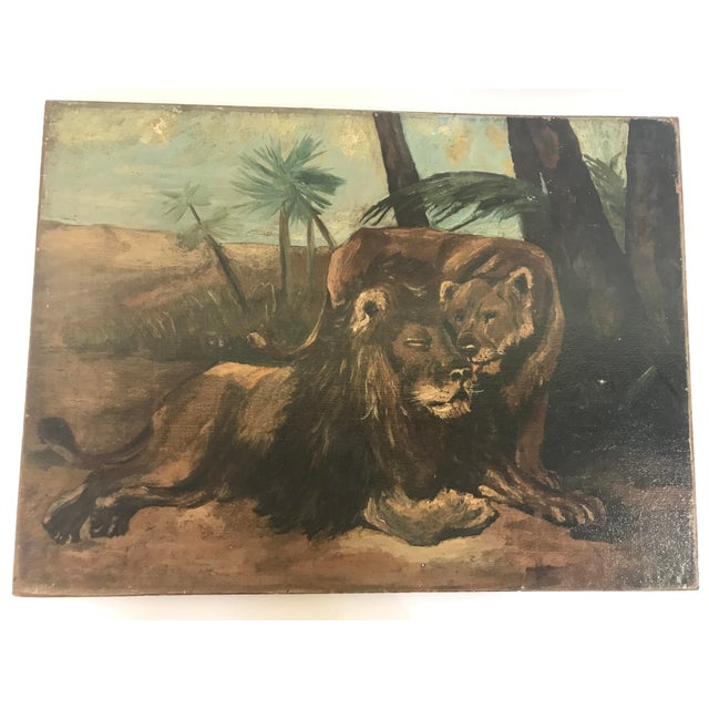 Antique British Colonial Lion Lioness Jungle African Oil Painting on Board For Sale - Image 11 of 11
