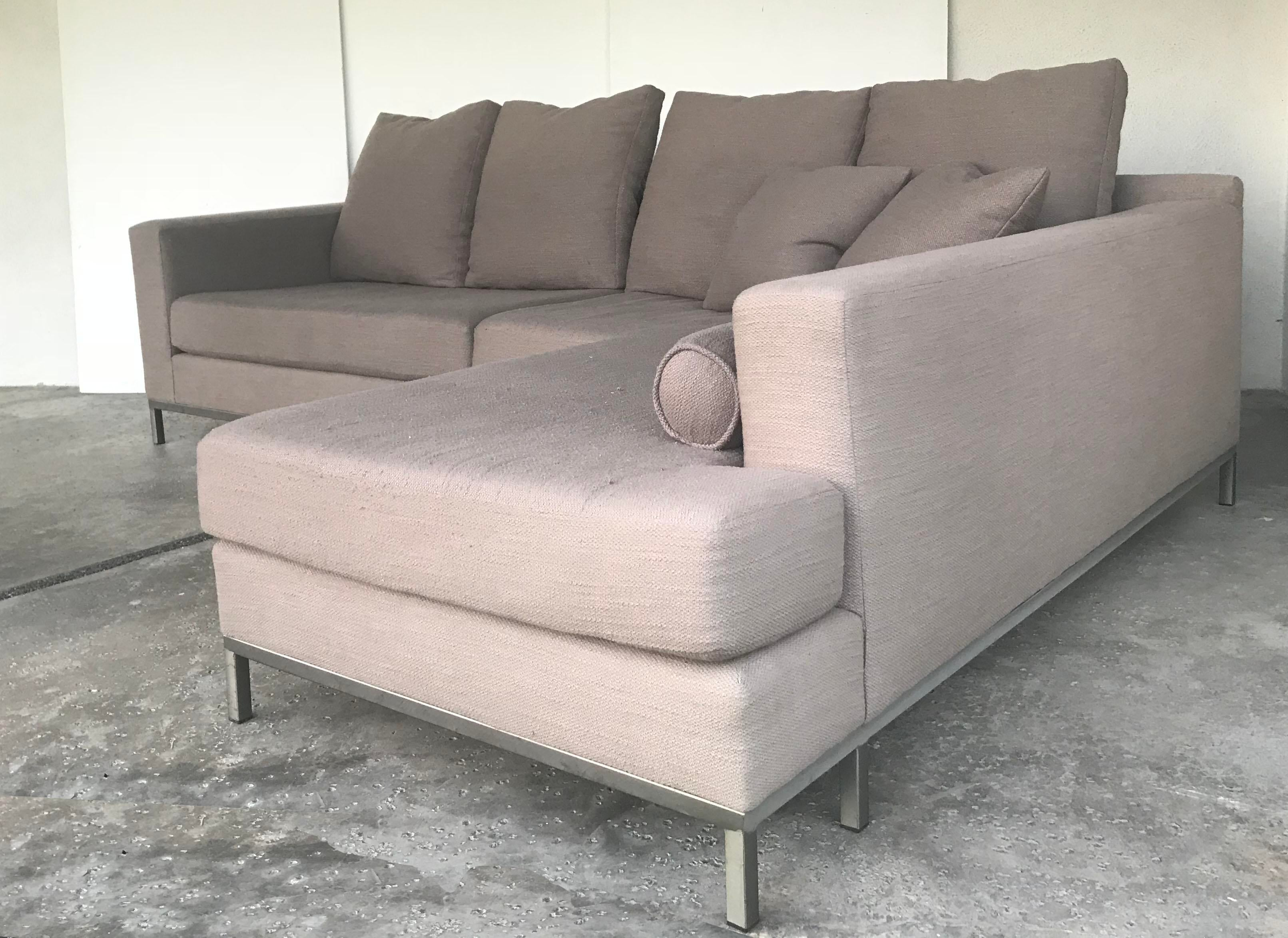 Minotti Style Modern 2 Piece Sectional Sofa Custom Made In Los Angeles.  TOTAL DIMENSIONS: