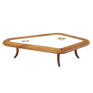 Diamond Shape Solid Thick Walnut Top Coffee Table For Sale