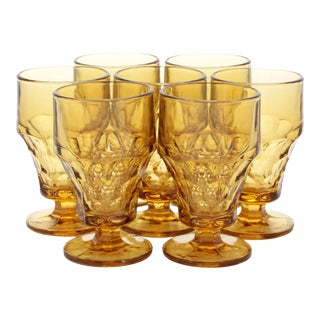 Vintage Amber GlassThumbprint Amber Footed Tumblers - Set of 7 For Sale