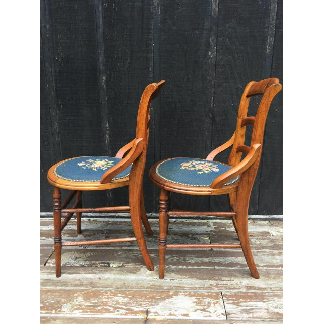 Needlepoint Seat Wooden Chairs - Set of 2 For Sale - Image 4 of 11