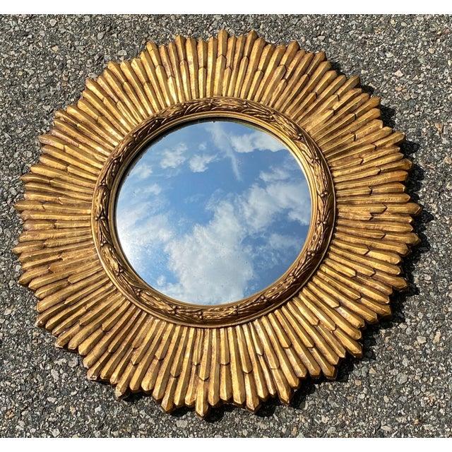 Wood Mid-Century Gilded Wood & Gesso Sunburst Convex Mirror For Sale - Image 7 of 7