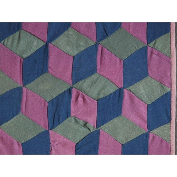1920s Amish Rare Cradle Quilt/Tumbling Blocks For Sale - Image 4 of 5