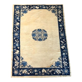 Antique Art Deco Chinese Peking Area Rug- 5′ × 7′ For Sale