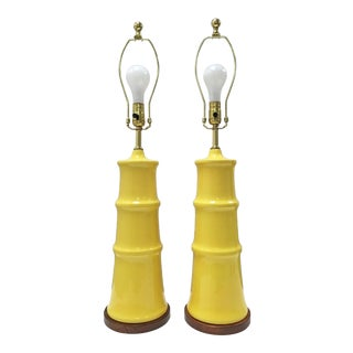 1960s Vintage Mid Century Modern Yellow Ceramic Pagoda Lamps - a Pair For Sale