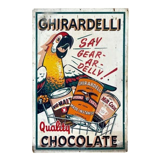 Huge Ghirardelli Chocolate Parrot Mascot Painted Wood Advertising Sign, 1930s For Sale