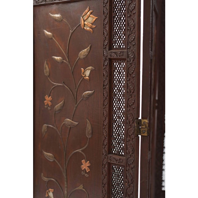 19th Century Moorish Carved Teak 3-Fold Screen For Sale - Image 5 of 8