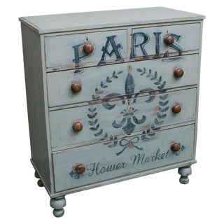 Five-Drawer English Chest with Later Paint Decoration, circa 1850 For Sale