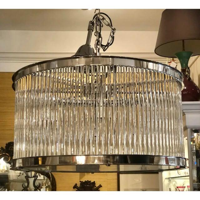 French Art Deco Machine Age Glass Rod Light Fixture Chandelier