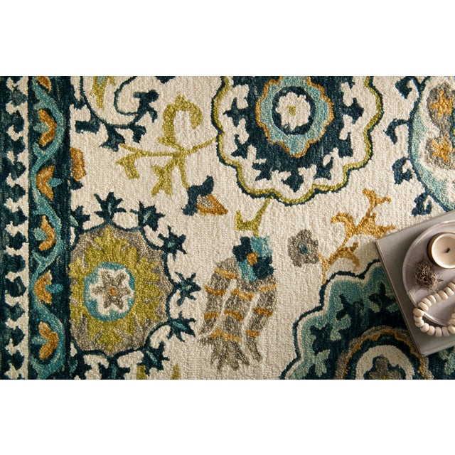 """Transitional Loloi Rugs Farrah Rug, Ivory / Blue - 1'6""""x1'6"""" For Sale - Image 3 of 4"""