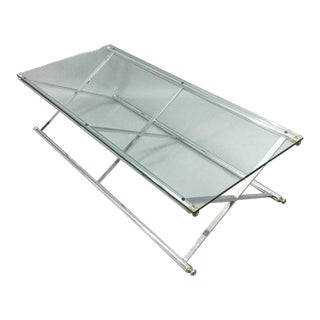1960s Campaign Chrome & Glass X-Brace Coffee Table For Sale