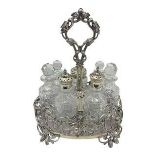 1870s British Victorian T. Elkington Silver Plated Table Cruet Set For Sale