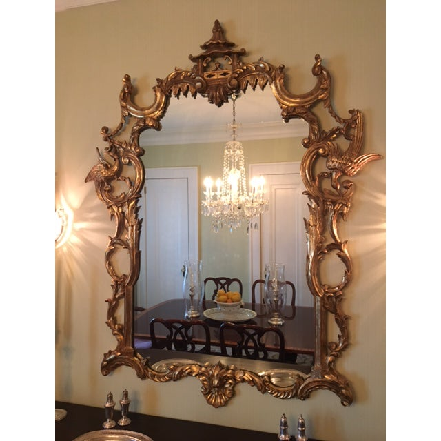 Chinese Chippendale Style Giltwood Mirror With Pagoda Top For Sale - Image 4 of 11