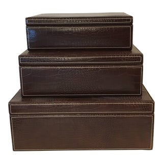 Faux Leather Boxes - Set of 3 For Sale