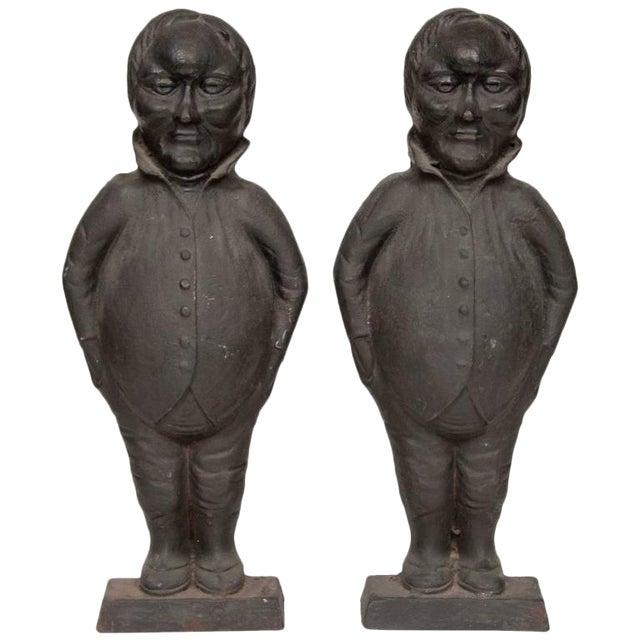 Tweedledum and Tweedledee Form Andirons-a Pair For Sale