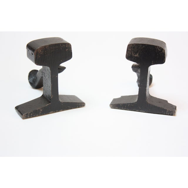 Industrial 1950s Industrial Black Iron Railroad Tie Bookends For Sale - Image 3 of 11