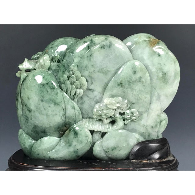 Chinese Art Carved Green Jade Mountain With People - Image 3 of 11