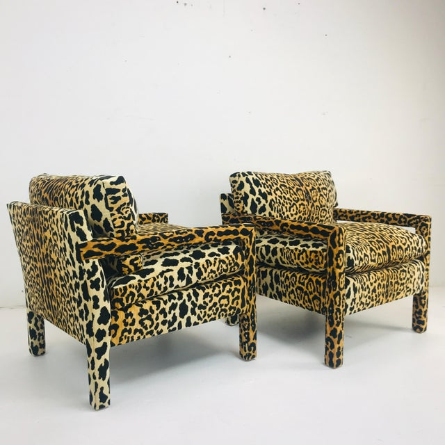 Pair of Leopard Parson Chairs in the Style of Milo Baughman, Custom For Sale - Image 10 of 13