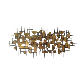 Abstract Brutalist Brass and Iron Metal Art Wall Sculpture For Sale