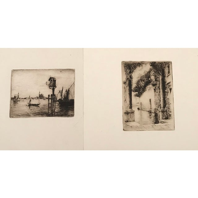 Brown 20th Century Dry Point Etchings - a Pair For Sale - Image 8 of 8