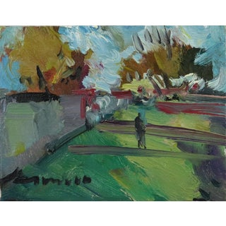 """""""Walk Through Field"""" Contemporary Landscape Oil Painting by Jose Trujillo For Sale"""