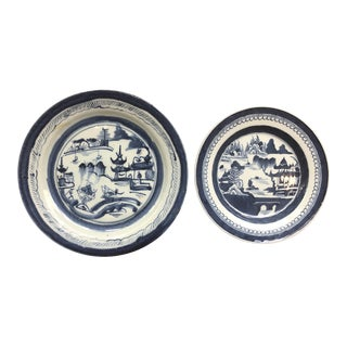 Chinese Blue and White Plates - a Pair For Sale