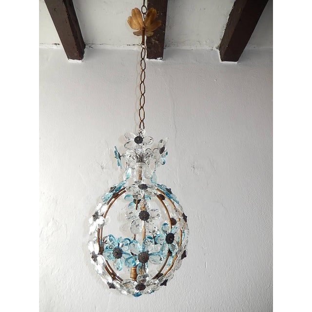 Glass French Aqua Blue Flower Ball Crystal Prisms Maison Baguès Style Chandelier For Sale - Image 7 of 11