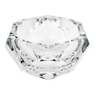 Vintage Val Saint-Lambert Crystal Faceted Ashtray