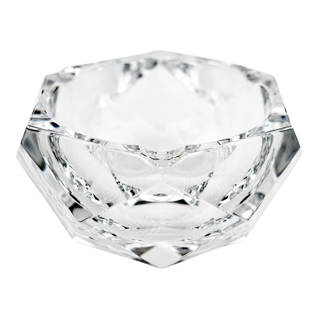 Vintage Val Saint-Lambert Crystal Faceted Ashtray For Sale