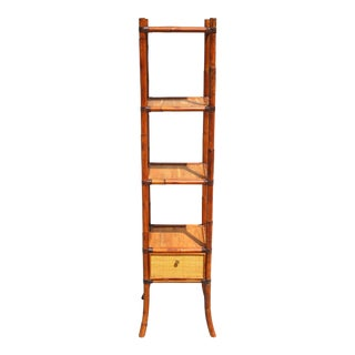 Vintage Square Bamboo Etagere by Selamat Designs For Sale