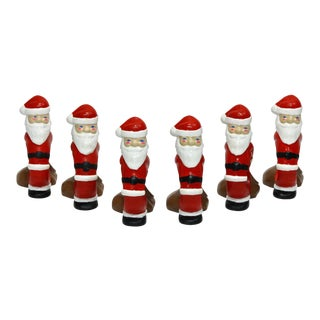 Ceramic Santa Claus Napkin Rings - Set of 6