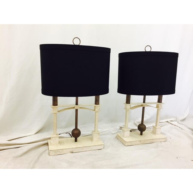 Pair stunning Vintage Mid Century Modern Eames Era Art Deco Table Lamps. Original Fittings and Finish. Sold with out...