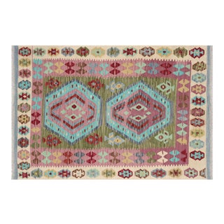 "Nalbandian - Contemporary Afghan Maimana Kilim - 3'4"" X 4'10"" For Sale"