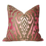 Image of Raspberry Mocha Silk Velvet Ikat Pillow Cover For Sale
