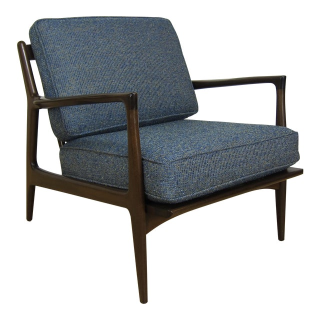 1960s Mid-Century Modern Ib Kofod Larsen for Selig Walnut Lounge Chair For Sale