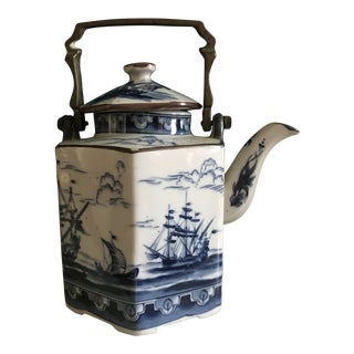 20th Century Asian Blue and White Porcelain Tea Pot With Brass Handle