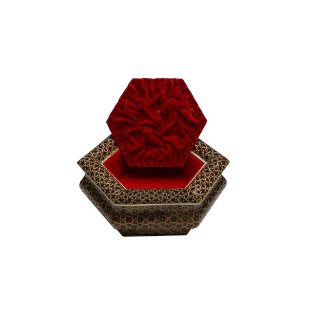 Hexagonal Wood Inlaid Box For Sale - Image 4 of 4