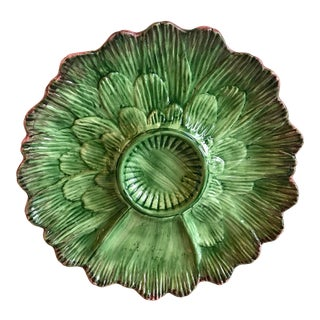 Late 20th Century Vintage Majolica Artichoke Plate For Sale
