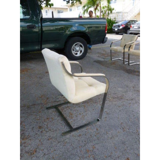 Chrome 1970's Mid-Century Modern Brueton Heavy Thick Chromed Steel Arm Chairs - Set of 4 For Sale - Image 7 of 11