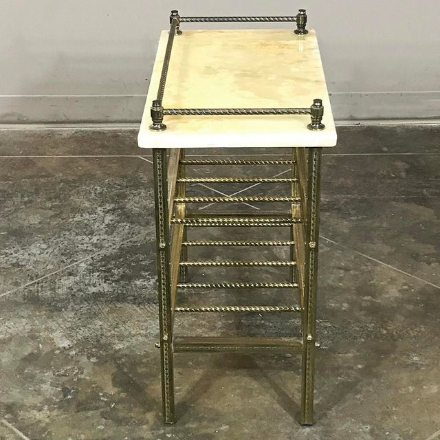 Mid-Century Brass & Marble Wine Serving Table For Sale - Image 9 of 11