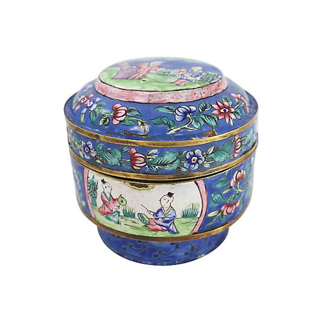 Paint 19th C. Chinese Enameled Box For Sale - Image 7 of 10