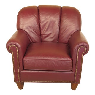 Century Burgundy Leather Club Chair For Sale