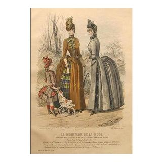 1886 Moniteur De La Mode, Parisian Ladies Fashion (Plate 11-1886) For Sale
