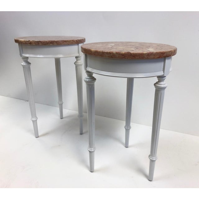 Pair Hollywood Regency Marble Top Side Tables For Sale - Image 4 of 7