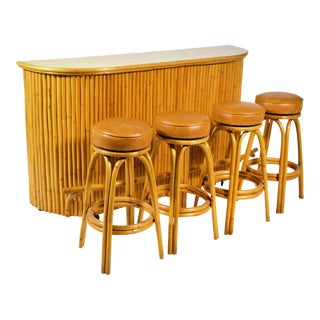 Tropical Rattan Tiki Bar with Four Stools For Sale