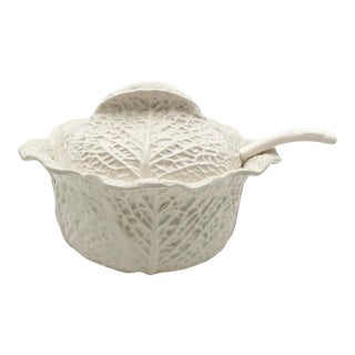 1960s White Cabbage Tureen With Lid and Ladle For Sale