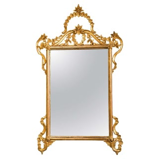 Decorative Giltwood Mirror Rectangular Frame Decorated With Foliage and Scrolls For Sale