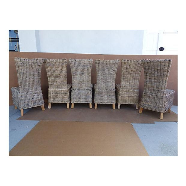 Rattan Wicker High Back Dining Chairs - Set of 6 For Sale - Image 10 of 11