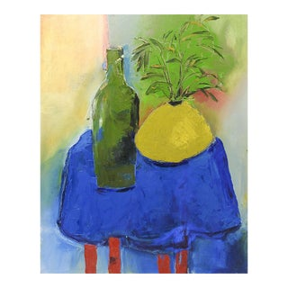 Blue Table Still Life Painting by Bruce Clements For Sale